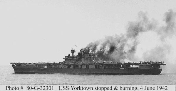 Yorktown burning 4 June 42